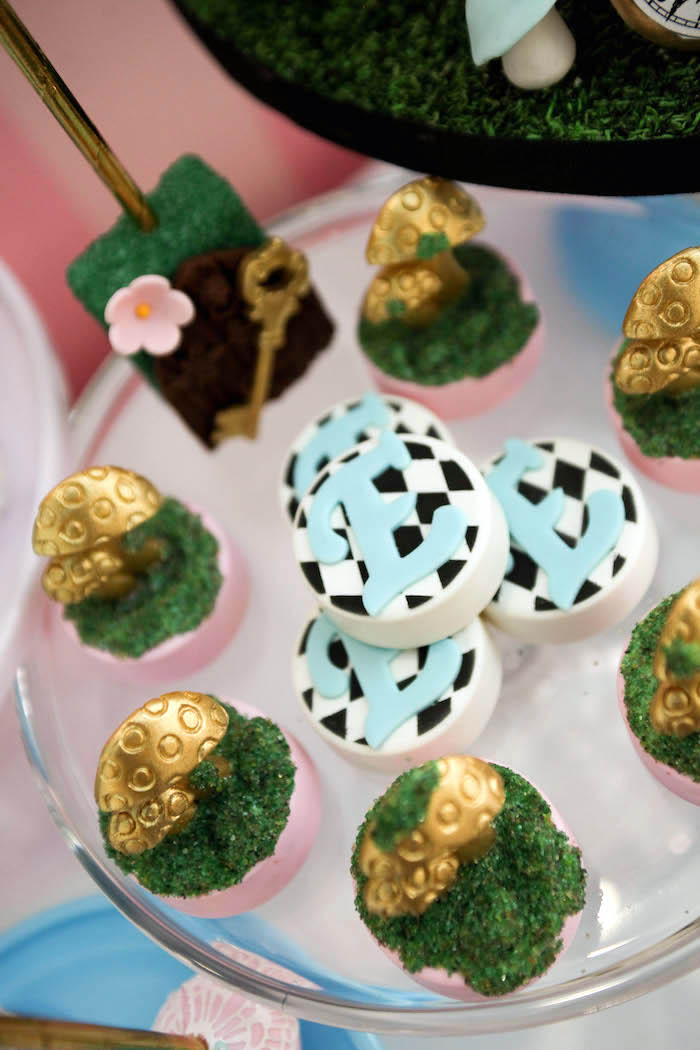 Chocolate covered Oreos and sweets from an Alice in Wonderland Birthday Party on Kara's Party Ideas | KarasPartyIdeas.com (22)
