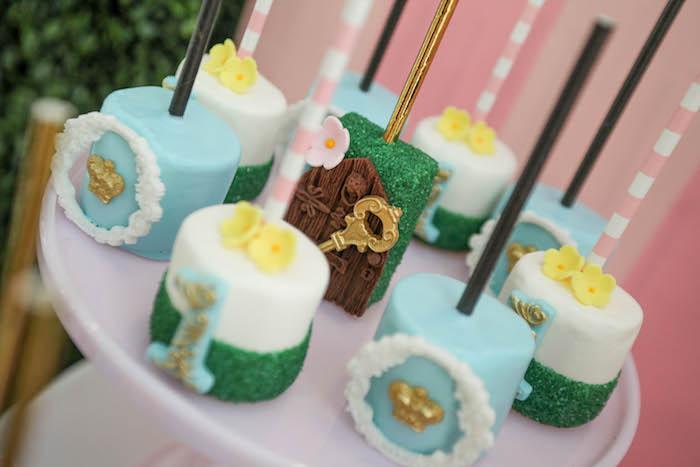 Marshmallow pops from an Alice in Wonderland Birthday Party on Kara's Party Ideas | KarasPartyIdeas.com (21)