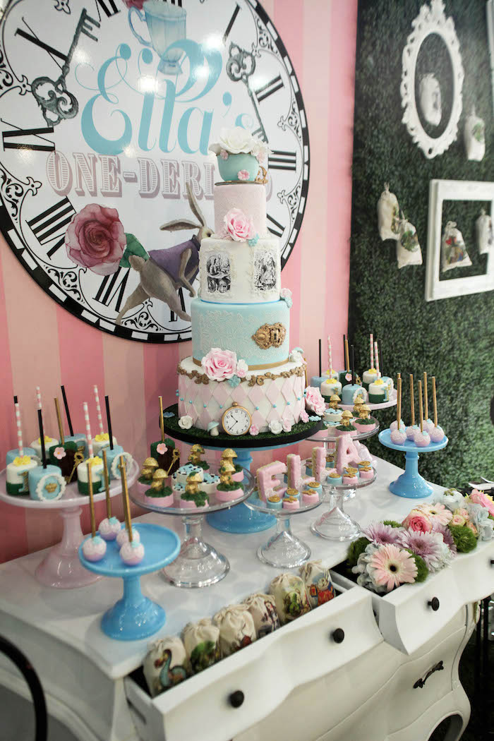 Elegant Side View Of A Dessert Table From An Alice In Wonderland Birthday Party On  Karau0027s