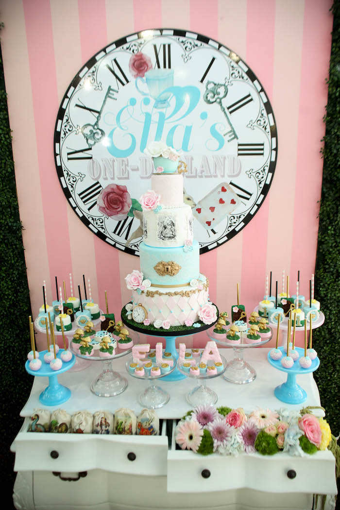 Charming Sweet Display From An Alice In Wonderland Birthday Party On Karau0027s Party  Ideas | KarasPartyIdeas.