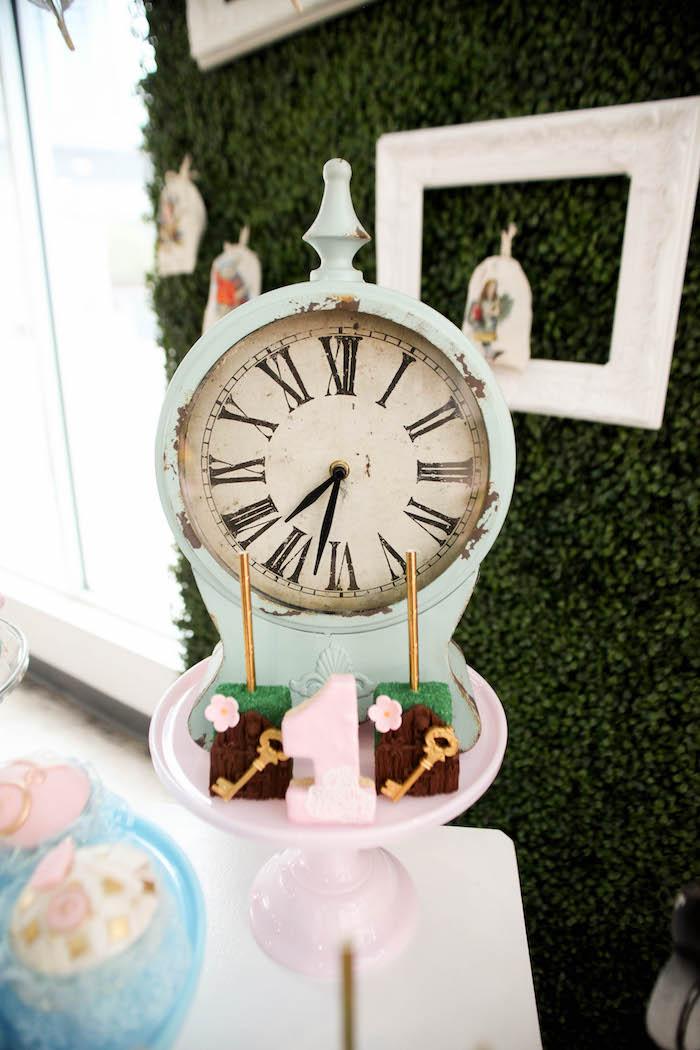 Clock from an Alice in Wonderland Birthday Party on Kara's Party Ideas | KarasPartyIdeas.com (9)