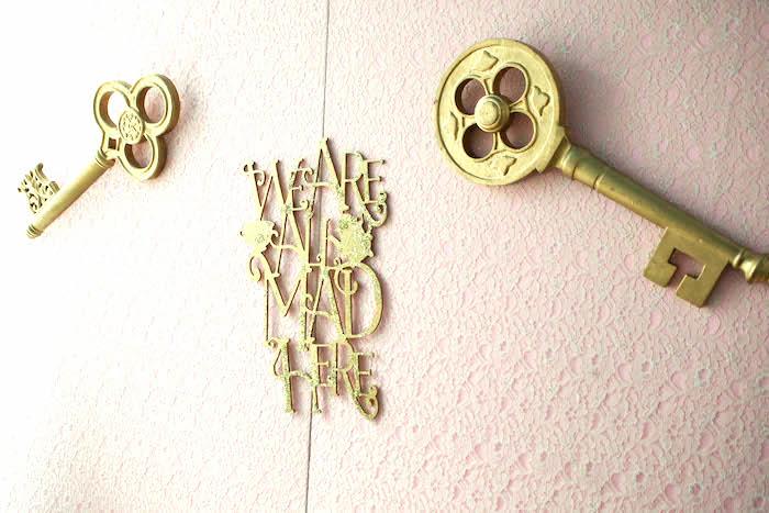 Key wall from an Alice in Wonderland Birthday Party on Kara's Party Ideas | KarasPartyIdeas.com (7)