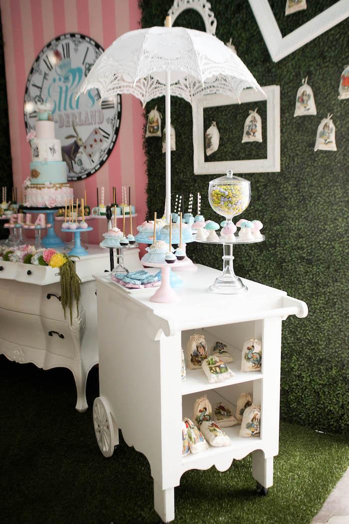 Umbrella dessert cart from an Alice in Wonderland Birthday Party on Kara's Party Ideas | KarasPartyIdeas.com (6)