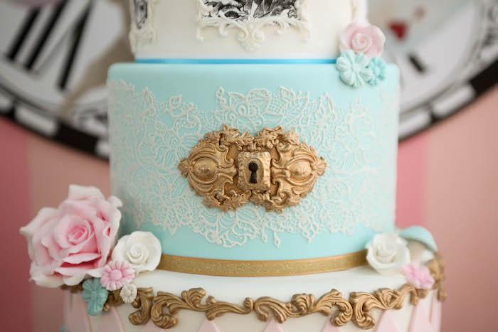 Key hole cake detail from an Alice in Wonderland Birthday Party on Kara's Party Ideas | KarasPartyIdeas.com (41)