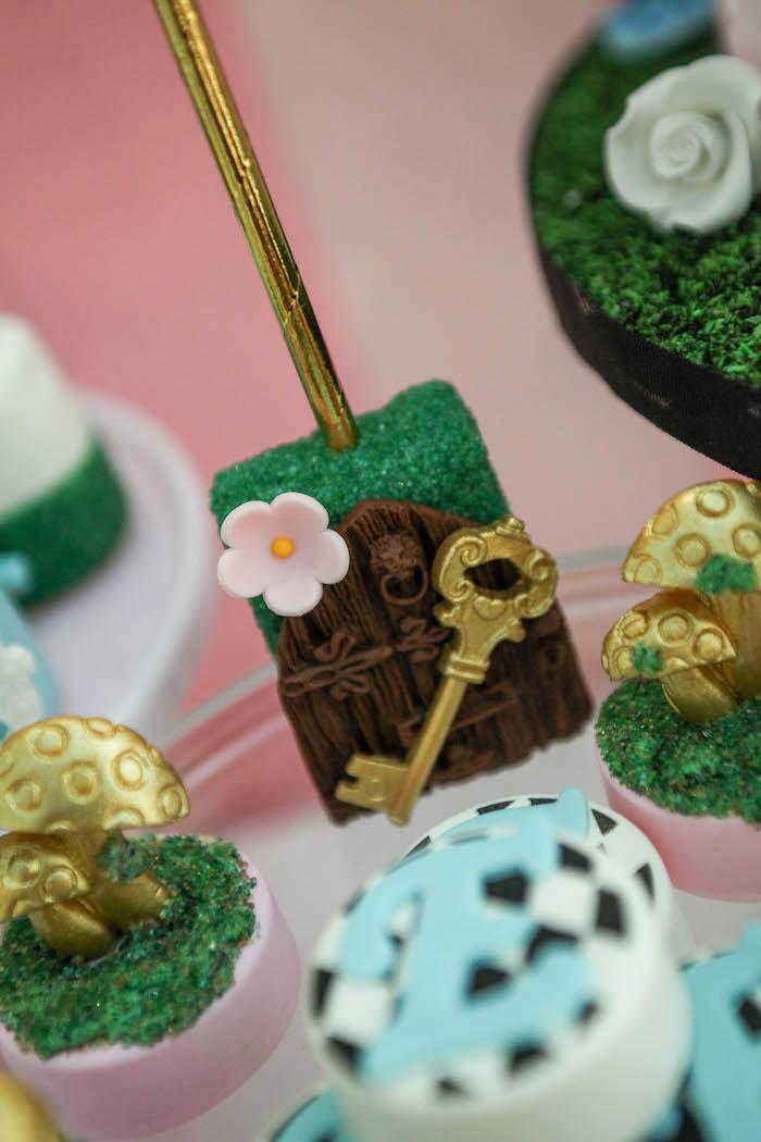 Rice Krispie Treat on a stick from an Alice in Wonderland Birthday Party on Kara's Party Ideas | KarasPartyIdeas.com (40)