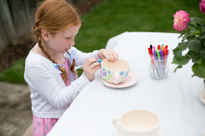 Tea cup decorating activity from an Anne of Green Gables Inspired Tea Party on Kara's Party Ideas | KarasPartyIdeas.com (8)