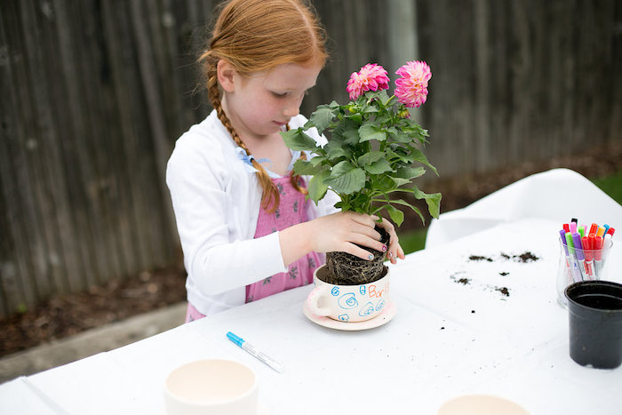 Tea cup flowers + planting activity from an Anne of Green Gables Inspired Tea Party on Kara's Party Ideas | KarasPartyIdeas.com (7)