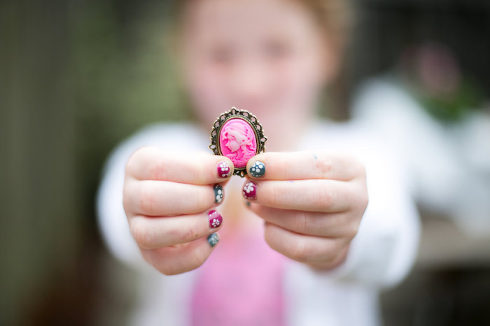 Pink brooch from an Anne of Green Gables Inspired Tea Party on Kara's Party Ideas | KarasPartyIdeas.com (16)