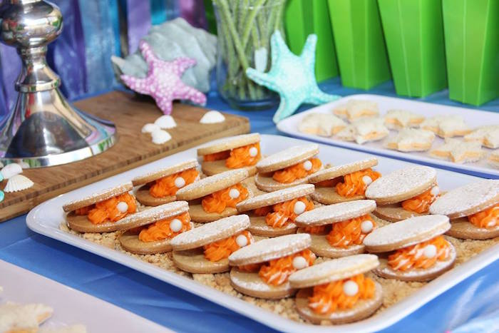 Clam cookies from an Ariel + The Little mermaid Birthday Party on Kara's Party Ideas | KarasPartyIdeas.com (6)