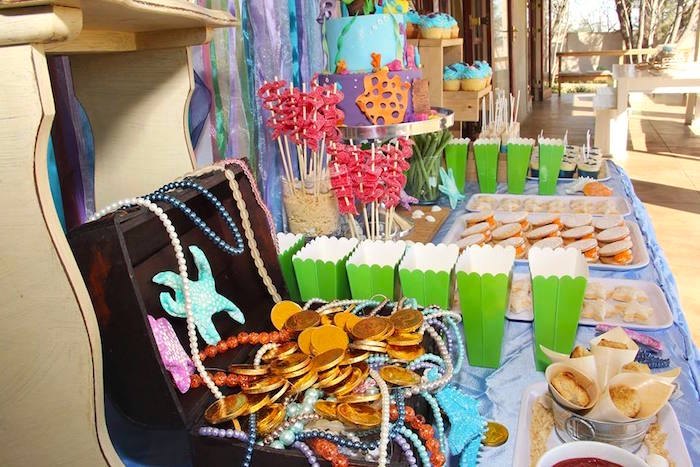 Party table detail from an Ariel + The Little mermaid Birthday Party on Kara's Party Ideas | KarasPartyIdeas.com (22)