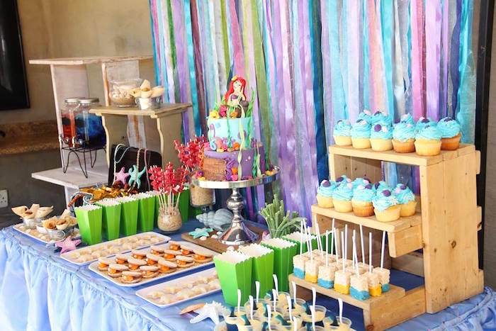 Dessert tablescape from an Ariel + The Little mermaid Birthday Party on Kara's Party Ideas | KarasPartyIdeas.com (21)