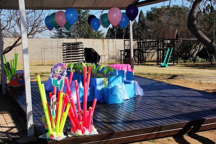 Guest table from an Ariel + The Little mermaid Birthday Party on Kara's Party Ideas | KarasPartyIdeas.com (20)