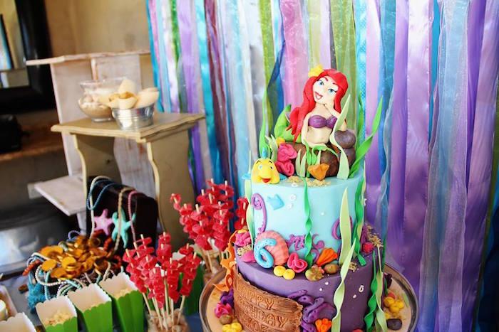 Cake from an Ariel + The Little mermaid Birthday Party on Kara's Party Ideas | KarasPartyIdeas.com (19)