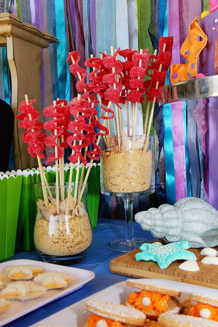 Seaweed candy kabobs from an Ariel + The Little mermaid Birthday Party on Karau0027s Party Ideas & Karau0027s Party Ideas Ariel + The Little Mermaid Birthday Party ...