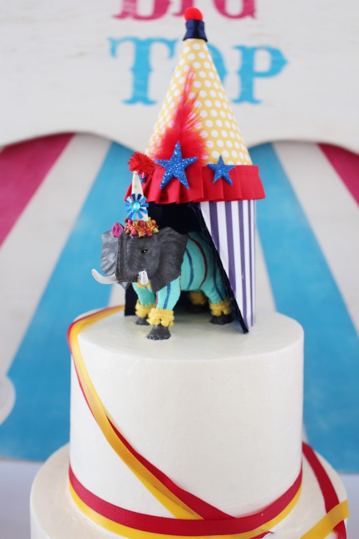 Elephant cake topper from a Big Top Circus Themed Birthday Party on Karau0027s Party Ideas | & Karau0027s Party Ideas Big Top Circus Birthday Party | Karau0027s Party Ideas