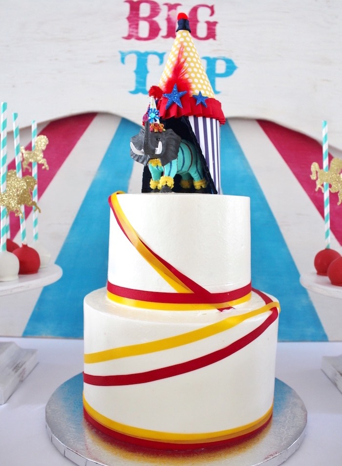Circus cake from a Big Top Circus Themed Birthday Party on Karau0027s Party Ideas | KarasPartyIdeas & Karau0027s Party Ideas Big Top Circus Birthday Party | Karau0027s Party Ideas
