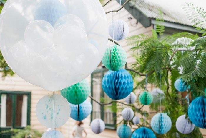 Hanging tissue balls from a Bubble Birthday Party on Kara's Party Ideas | KarasPartyIdeas.com (3)