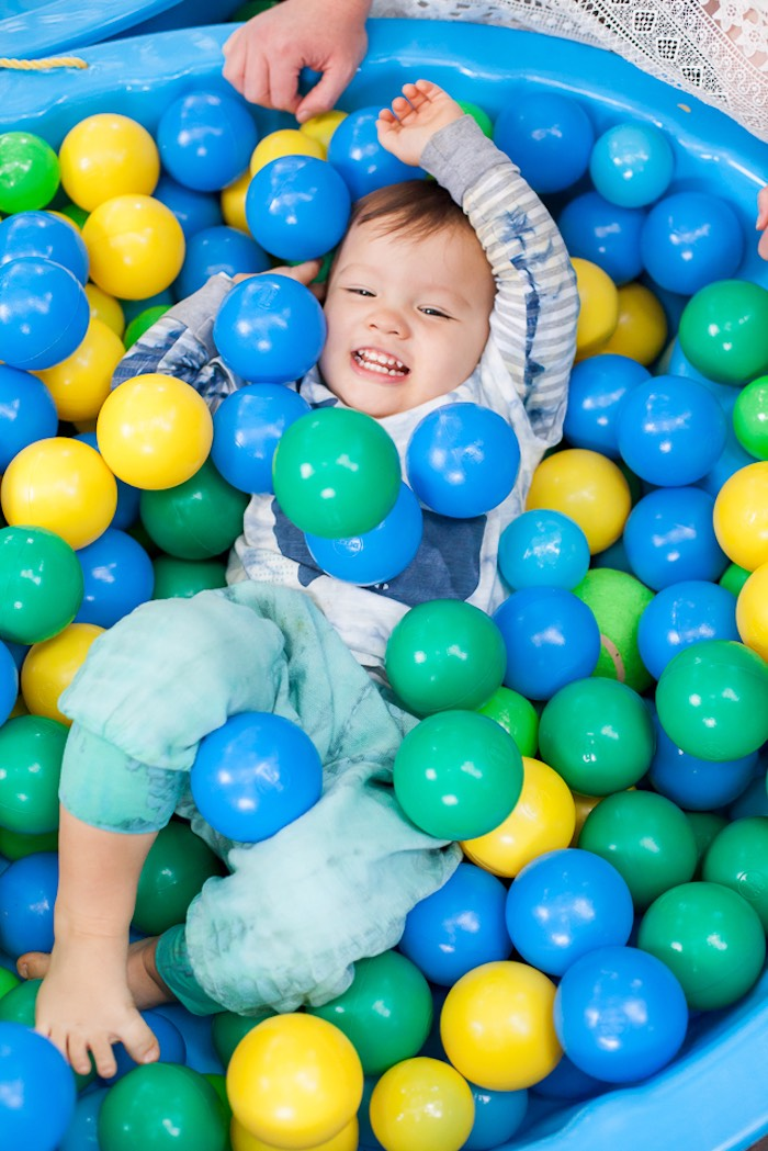 Ball pit & birthday boy from a Bubble Birthday Party on Kara's Party Ideas | KarasPartyIdeas.com (27)