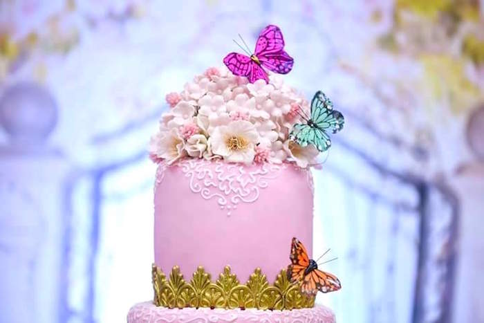Butterfly cake top from a Butterfly Garden Birthday Party on Kara's Party Ideas | KarasPartyIdeas.com (17)