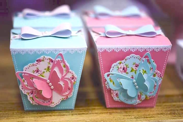 Butterfly favor boxes from a Butterfly Garden Birthday Party on Kara's Party Ideas | KarasPartyIdeas.com (16)