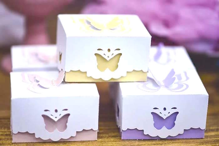 Butterfly Themed Favor Boxes : Kara s party ideas pink butterfly garden birthday