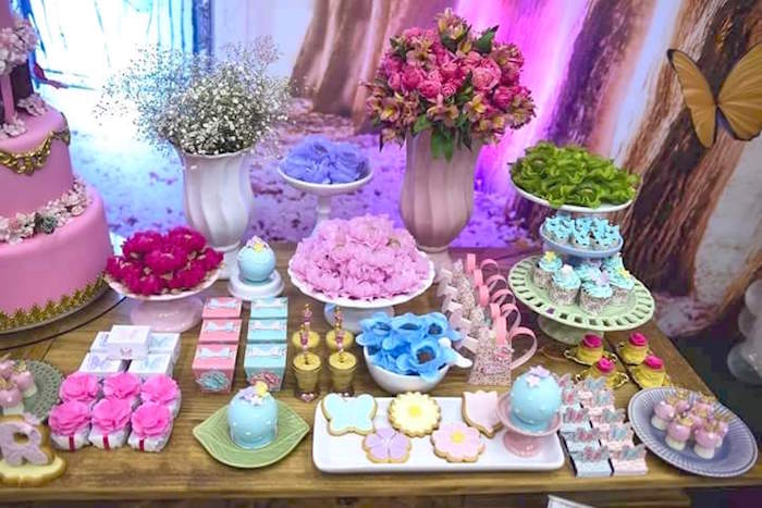 Dessert table details from a Butterfly Garden Birthday Party on Kara's Party Ideas | KarasPartyIdeas.com (9)