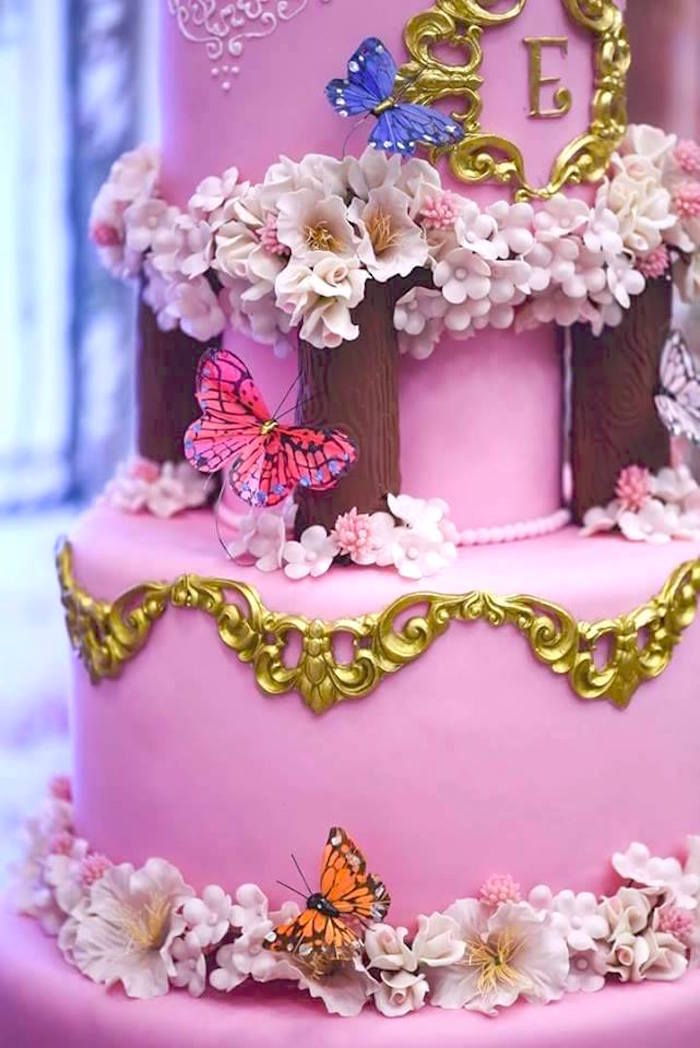 Cake detail from a Butterfly Garden Birthday Party on Kara's Party Ideas | KarasPartyIdeas.com (3)