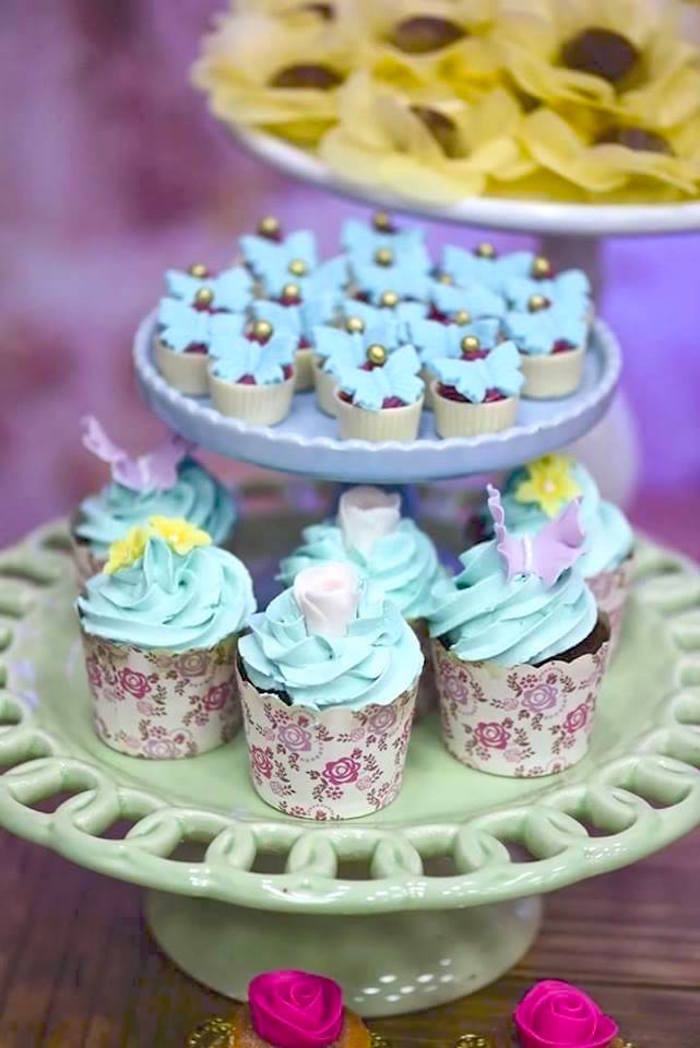 Cupcakes + sweets from a Butterfly Garden Birthday Party on Kara's Party Ideas | KarasPartyIdeas.com (23)