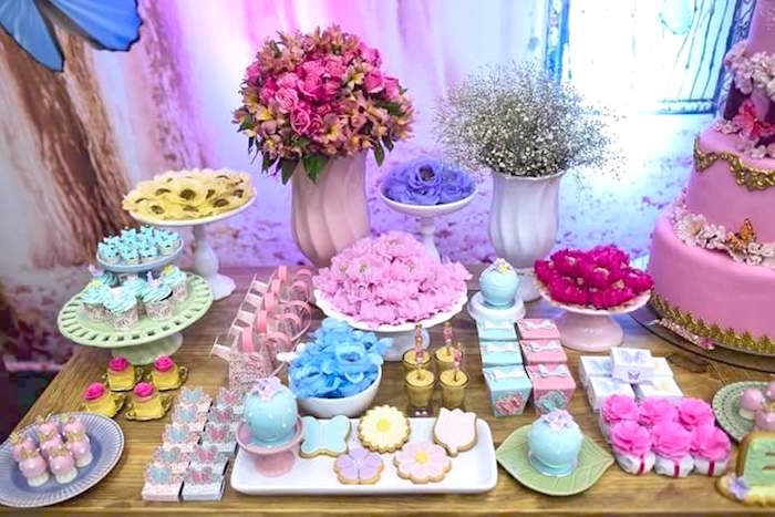 Sweets and decor from a Butterfly Garden Birthday Party on Kara's Party Ideas | KarasPartyIdeas.com (19)