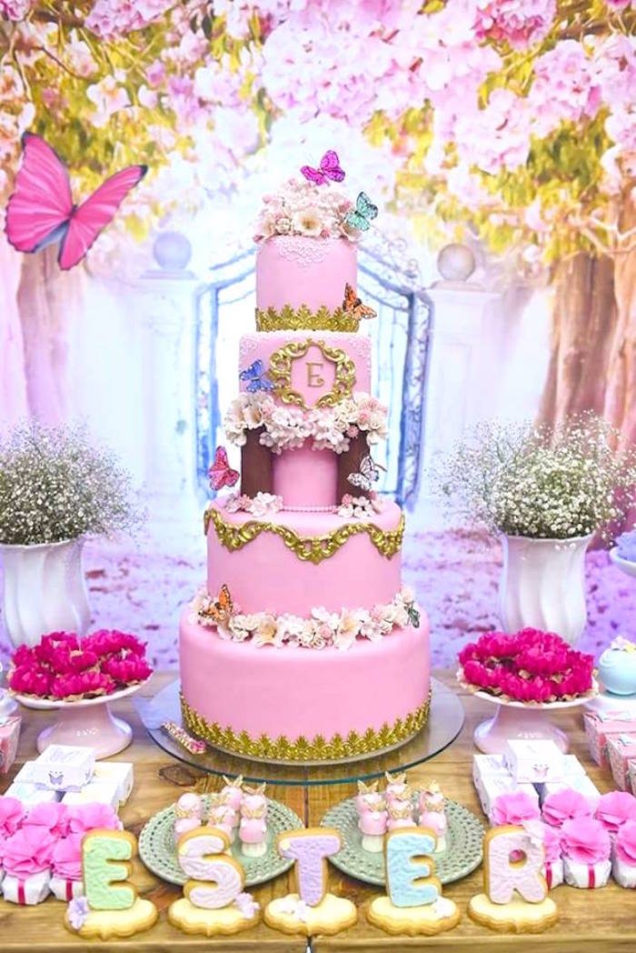 Pink butterfly themed cake from a Butterfly Garden Birthday Party on Kara's Party Ideas | KarasPartyIdeas.com (18)