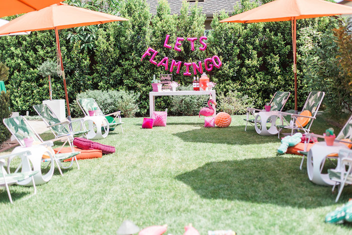 Tropical partyscape from a Cactus + Flamingo Themed Summer Party on Kara's Party Ideas | KarasPartyIdeas.com (28)