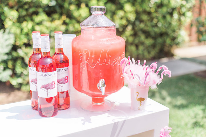 Beverage table from a Cactus + Flamingo Themed Summer Party on Kara's Party Ideas | KarasPartyIdeas.com (24)
