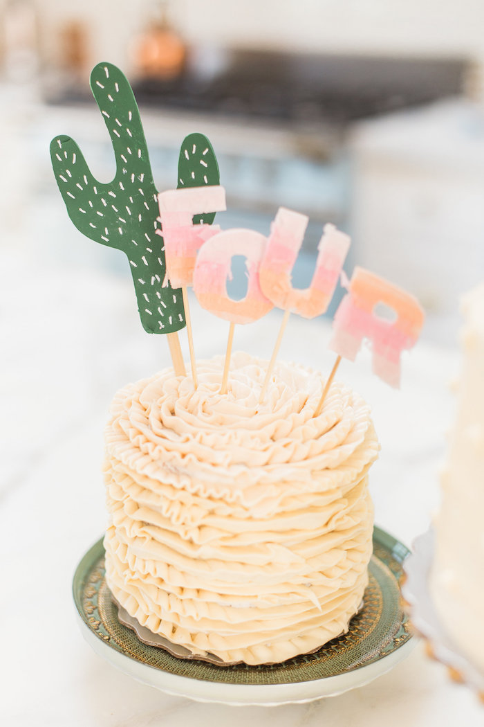Ruffle cake from a Cactus + Flamingo Themed Summer Party on Kara's Party Ideas | KarasPartyIdeas.com (42)