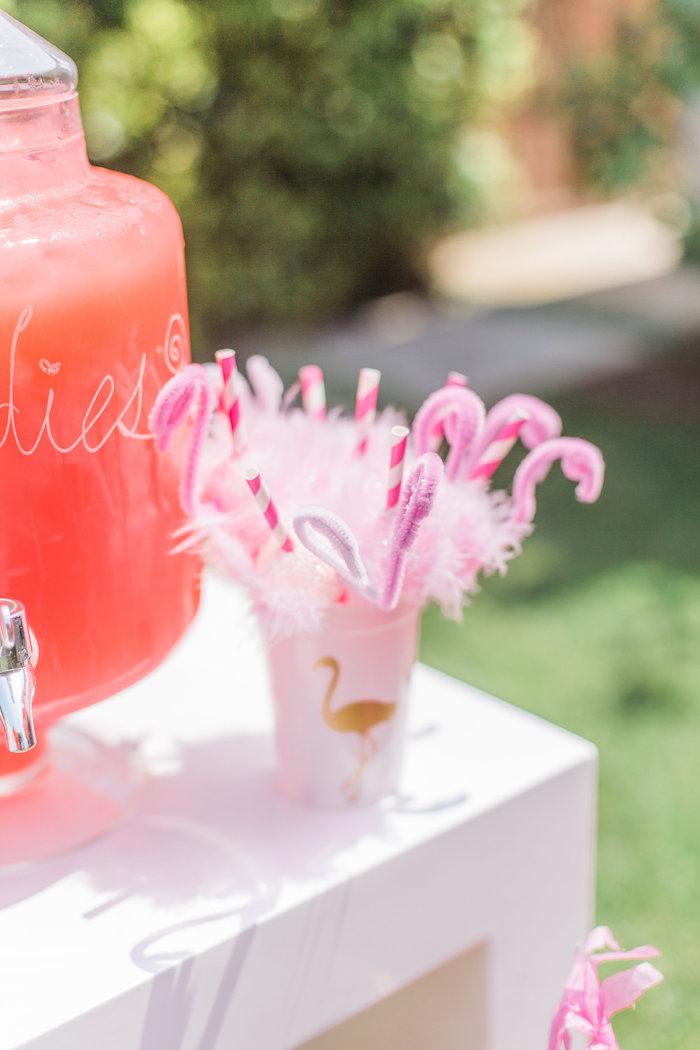 Flamingo straws from a Cactus + Flamingo Themed Summer Party on Kara's Party Ideas | KarasPartyIdeas.com (23)