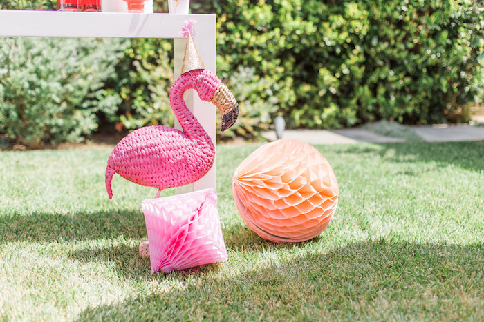 Wicker flamingo decoration & honeycomb decorations from a Cactus + Flamingo Themed Summer Party on Kara's Party Ideas | KarasPartyIdeas.com (22)