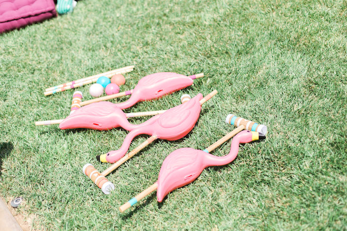 Flamingo croquet from a Cactus + Flamingo Themed Summer Party on Kara's Party Ideas | KarasPartyIdeas.com (21)