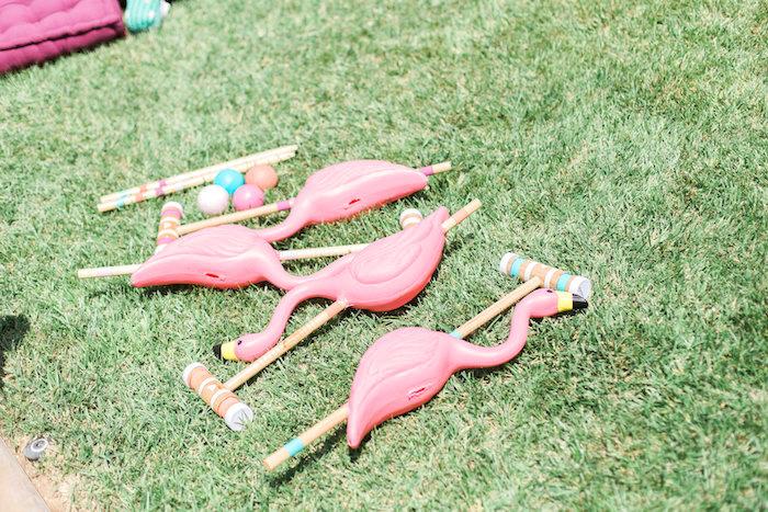Flamingo croquet from a Cactus + Flamingo Themed Summer Party on Kara's Party Ideas | KarasPartyIdeas.com (21)