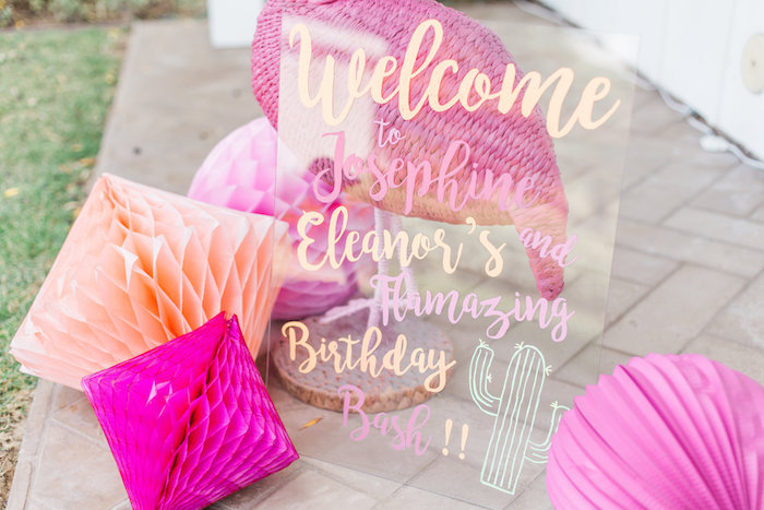 Welcome sign from a Cactus + Flamingo Themed Summer Party on Kara's Party Ideas | KarasPartyIdeas.com (18)