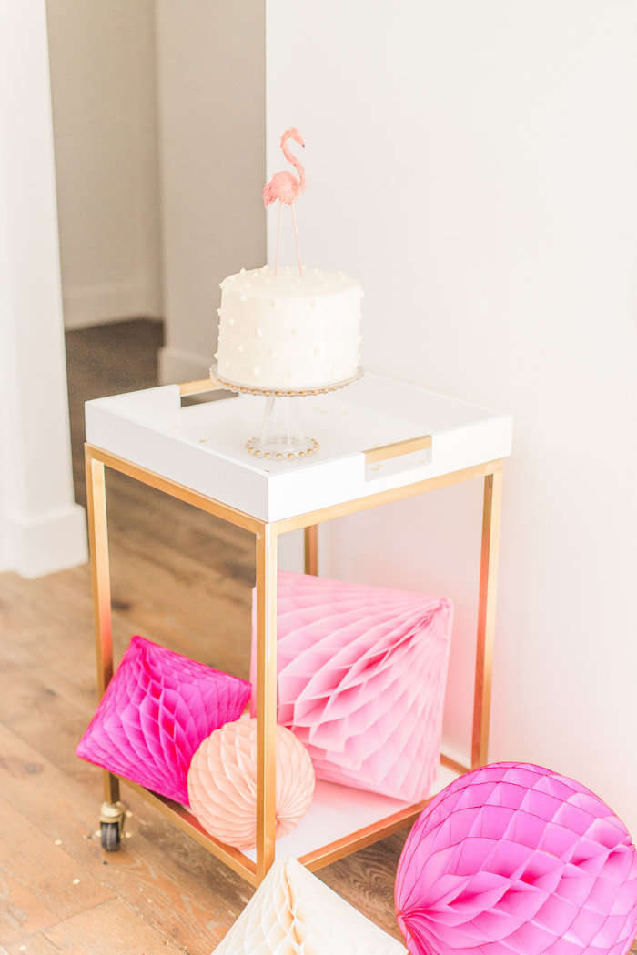 Cake cart from a Cactus + Flamingo Themed Summer Party on Kara's Party Ideas | KarasPartyIdeas.com (17)