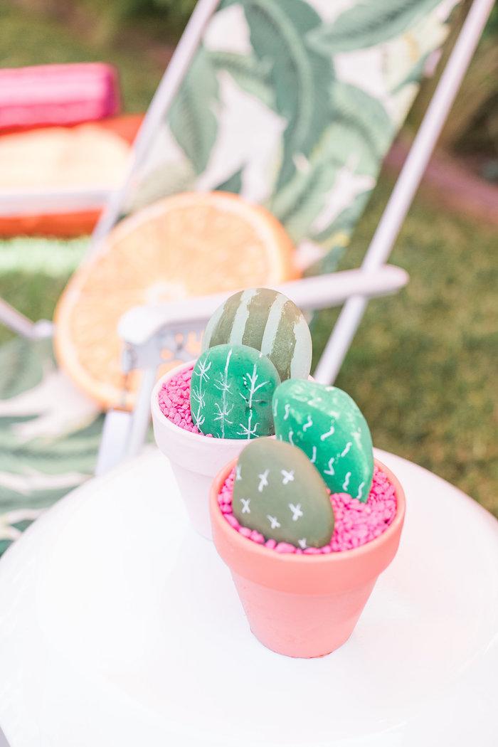Rock cactus centerpieces from a Cactus + Flamingo Themed Summer Party on Kara's Party Ideas | KarasPartyIdeas.com (15)