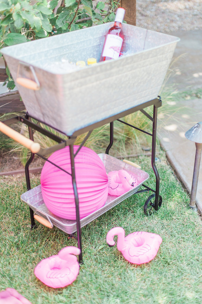 Drink cart from a Cactus + Flamingo Themed Summer Party on Kara's Party Ideas | KarasPartyIdeas.com (13)