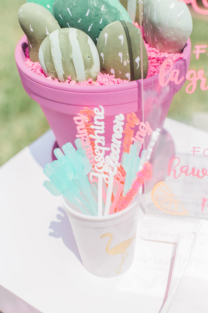 Drink stirrers from a Cactus + Flamingo Themed Summer Party on Kara's Party Ideas | KarasPartyIdeas.com (10)
