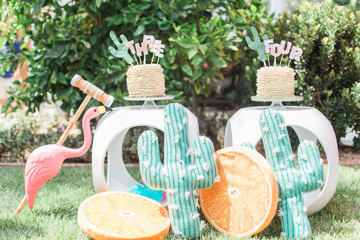 Cake tables from a Cactus + Flamingo Themed Summer Party on Kara's Party Ideas | KarasPartyIdeas.com (5)