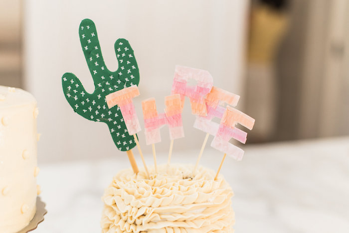 Fringe lettering + cactus cake toppers from a Cactus + Flamingo Themed Summer Party on Kara's Party Ideas | KarasPartyIdeas.com (38)