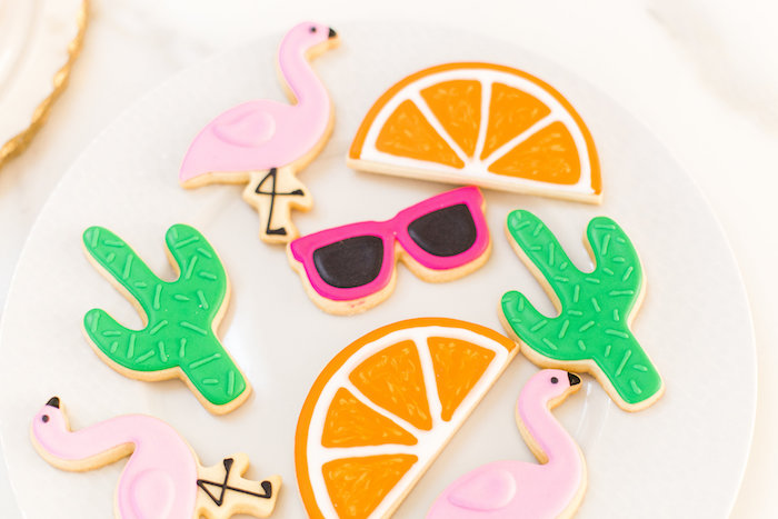 Tropical cookies from a Cactus + Flamingo Themed Summer Party on Kara's Party Ideas | KarasPartyIdeas.com (35)