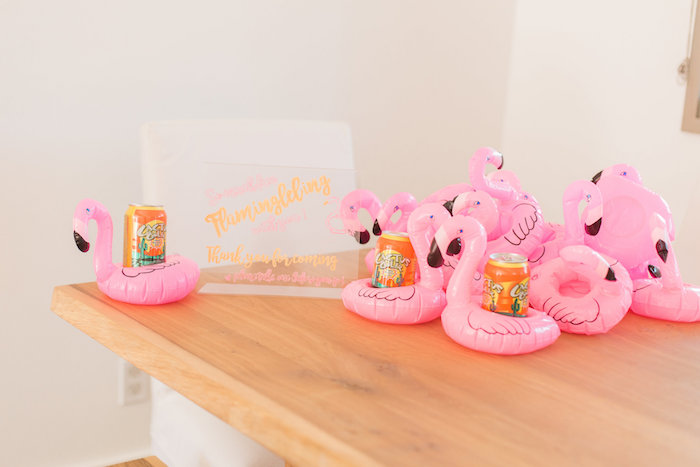 Inflatable flamingo drink holders from a Cactus + Flamingo Themed Summer Party on Kara's Party Ideas | KarasPartyIdeas.com (34)