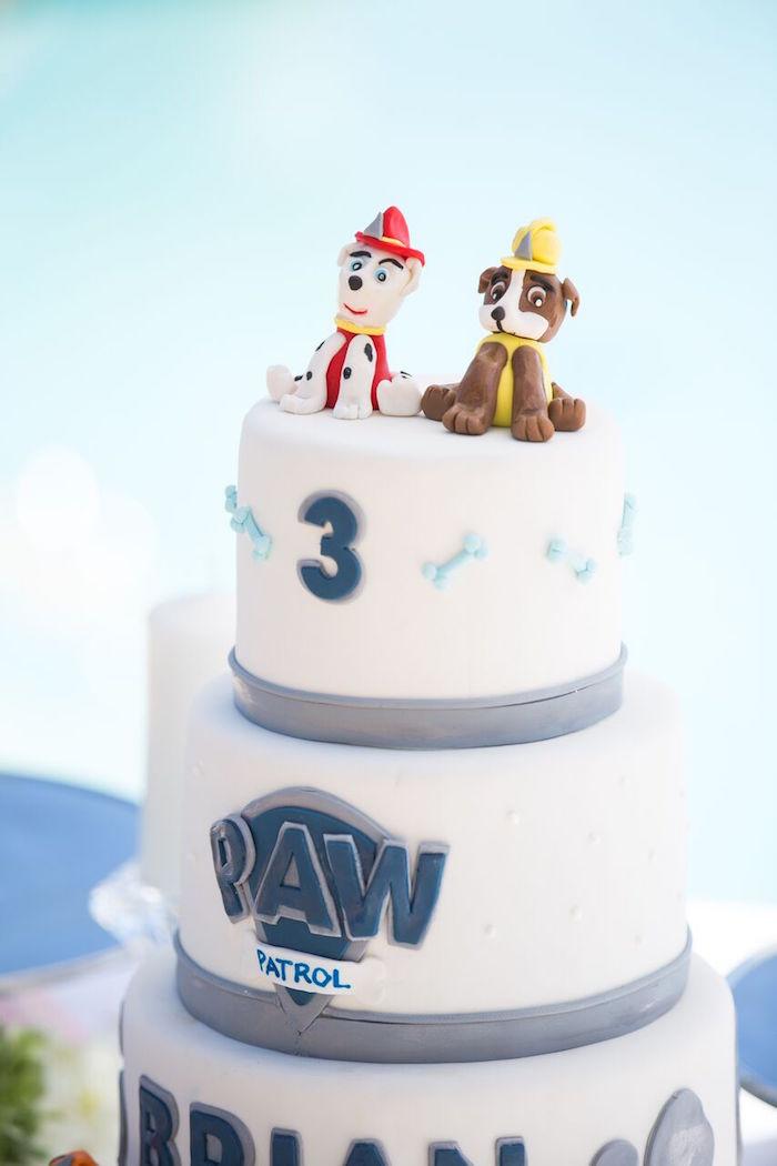 Paw Patrol cake from a Chic Paw Patrol Pool Birthday Party on Kara's Party Ideas | KarasPartyIdeas.com (20)
