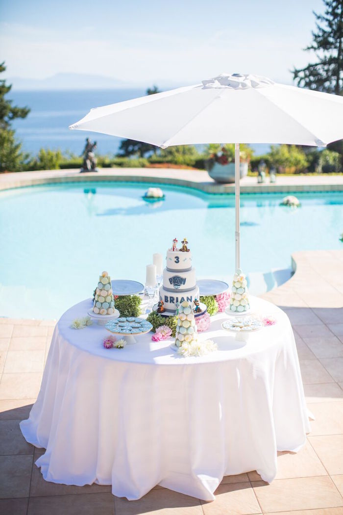 Umbrella party table from a Chic Paw Patrol Pool Birthday Party on Kara's Party Ideas | KarasPartyIdeas.com (7)