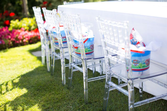 Ghost chairs from a Chic Paw Patrol Pool Birthday Party on Kara's Party Ideas | KarasPartyIdeas.com (24)