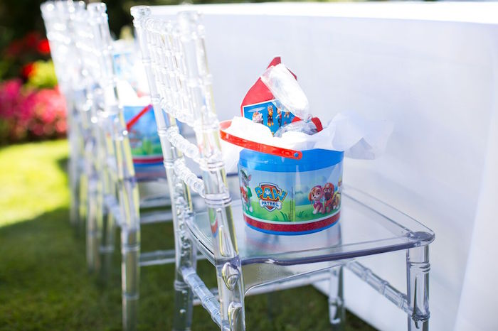 Paw Patrol favor bucket + lunch pail from a Chic Paw Patrol Pool Birthday Party on Kara's Party Ideas | KarasPartyIdeas.com (23)